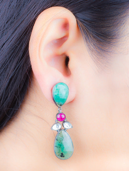 Ruby Emerald Silver Earring