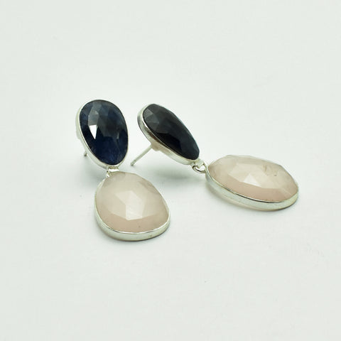 Blue sapphire and rose quartz silver earrings