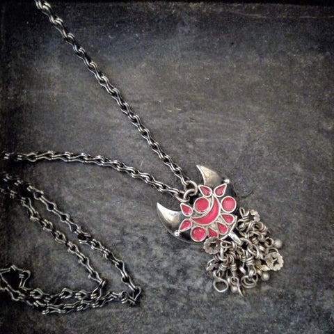 Silver Enamel Necklace