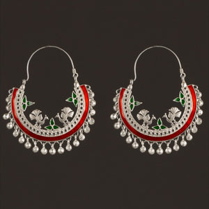 Silver Peacock Earrings with Enamel Big