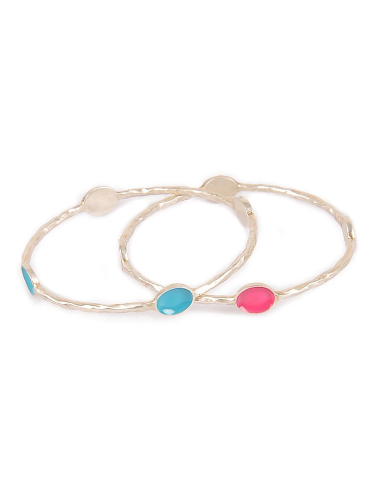 Enamelled Silver Bangle Set of 2 (Size: 2/8) Pink Turq