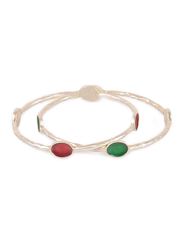 Enamelled Silver Bangle Set of 2 (Size: 2/4) Red Green