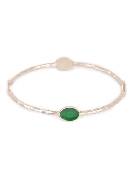 Enamelled Silver Bangle Set of 2 (Size: 2/8) Pink Green