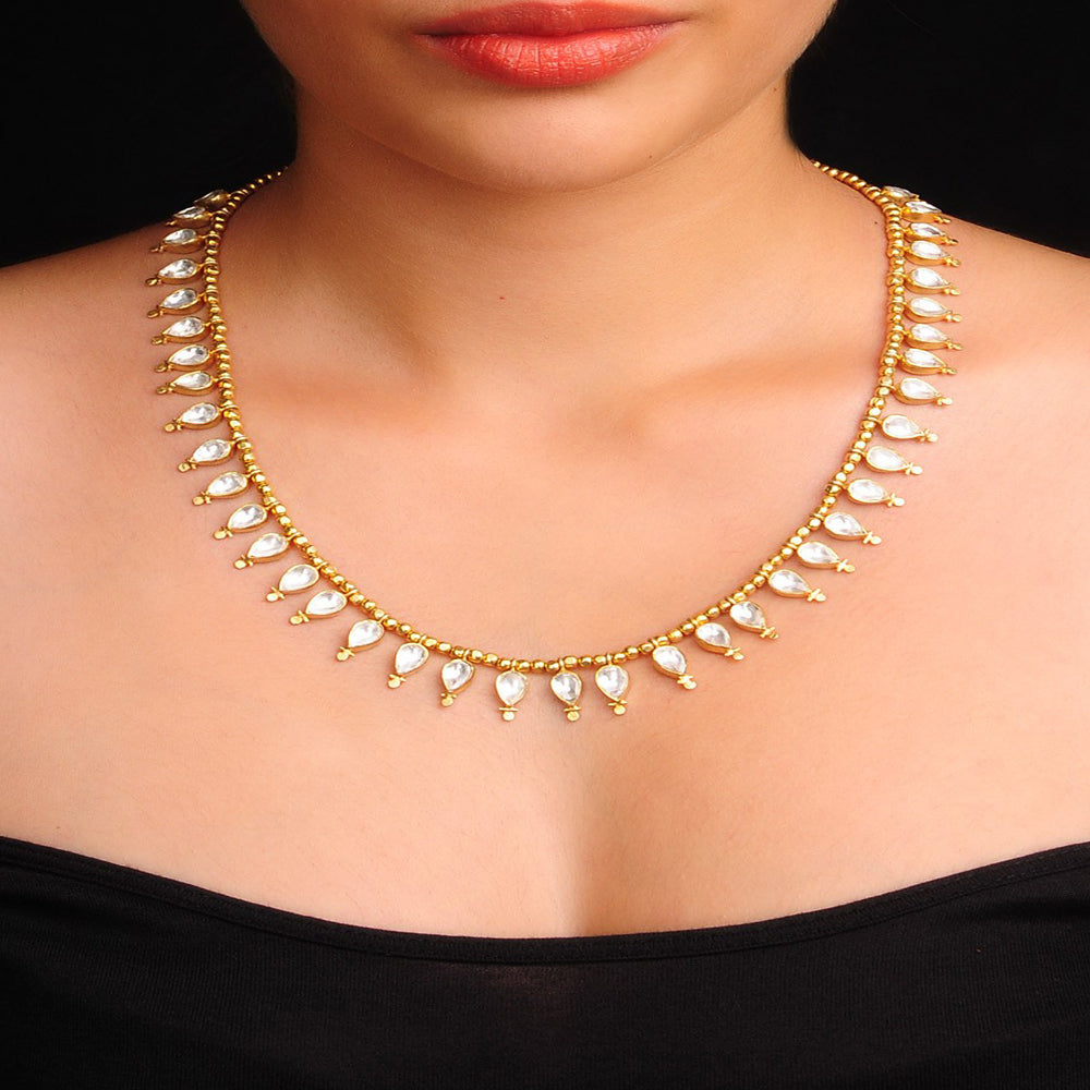 Crystal Drop Silver Necklace Gold Plated