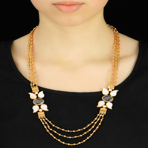 Floral Mother of Pearl Necklace Gold Plated