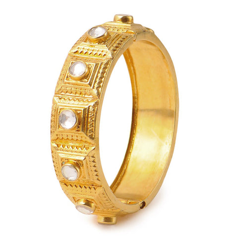 Crystal Silver Bangle (Size: 2/4) Hinged Opening Gold Plated