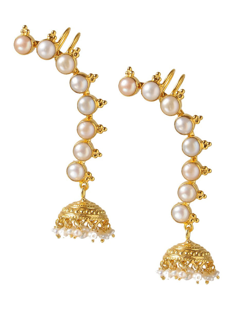 Silver Pearl Ear Cuffs Gold Plated