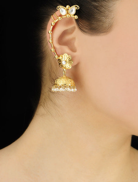 Pearl Silver Ear Cuffs Gold Plated