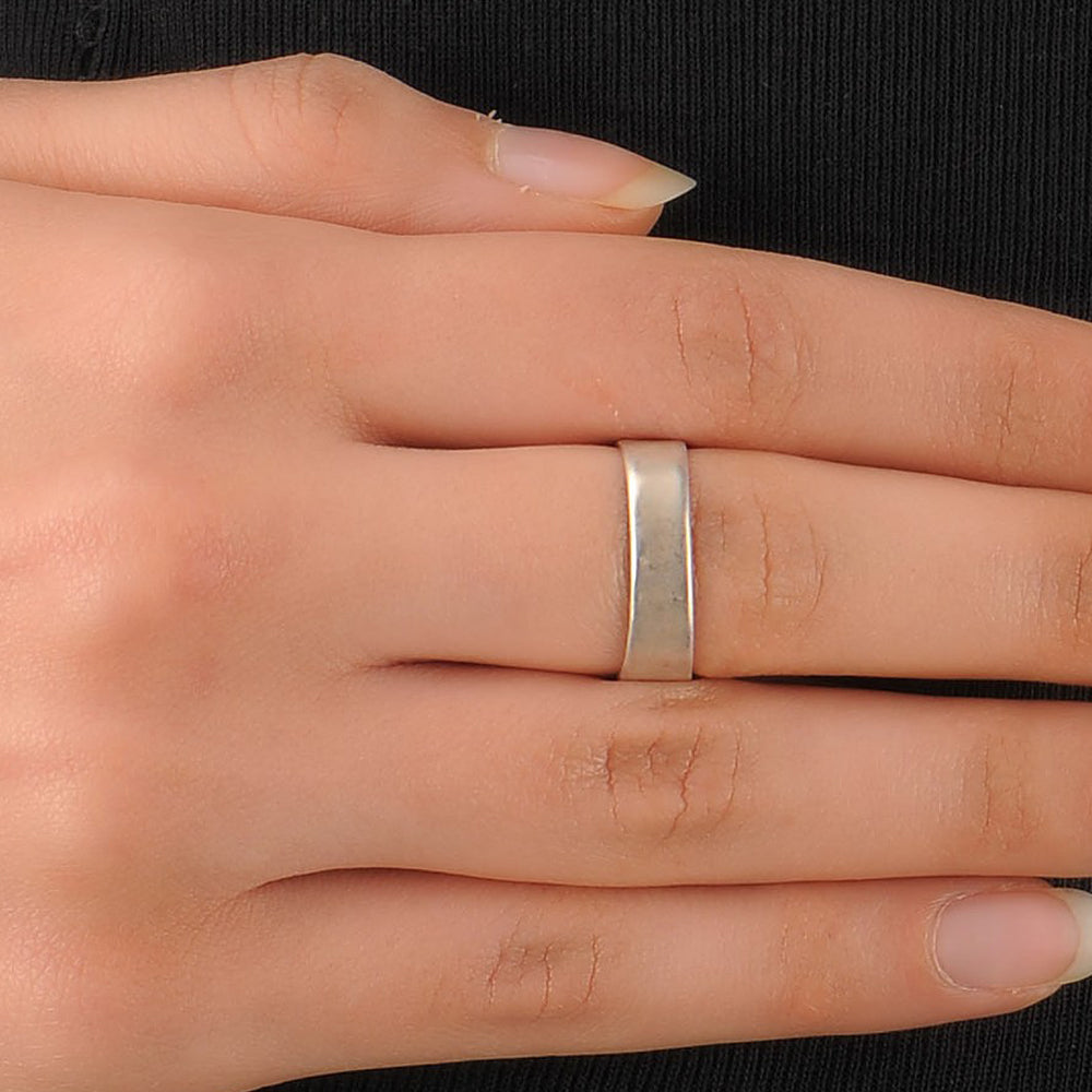Silver Square Ring in Enamel (Adjustable)