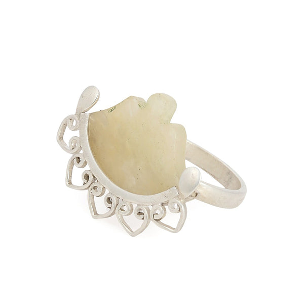 Yellow Aventurine Silver Ring (Adjustable)