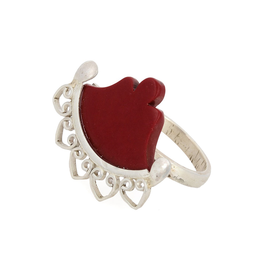 Coral Silver Ring (Adjustable)