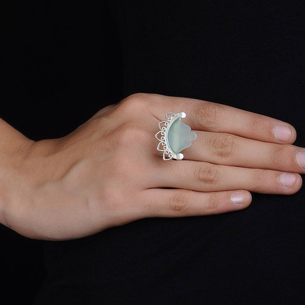 Chalcedony Silver Ring (Adjustable)