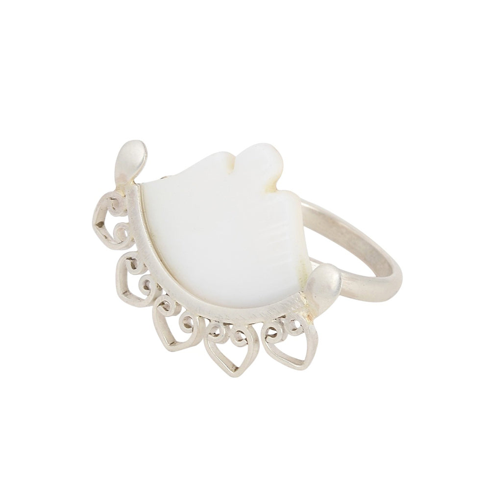 Mother of Pearl Silver Ring (Adjustable)