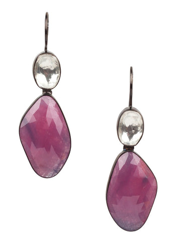 Pink Sapphire Silver Earring