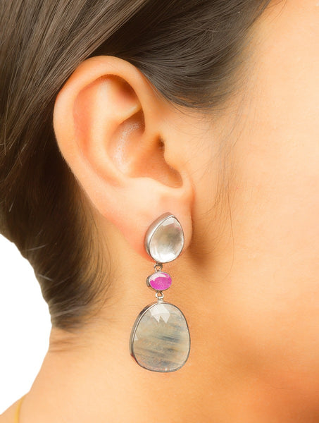 Ruby - Yellow Blue Sapphire Silver Earring