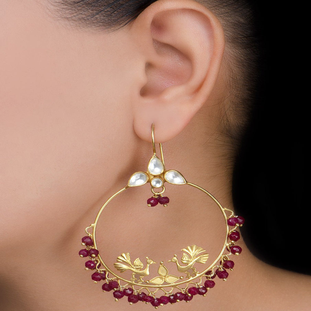 Peacock Silver Earring Crystals Gold Plated