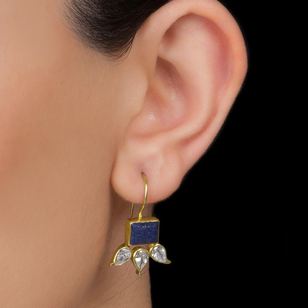 Lapis Lazuli Silver Earring Gold Plated