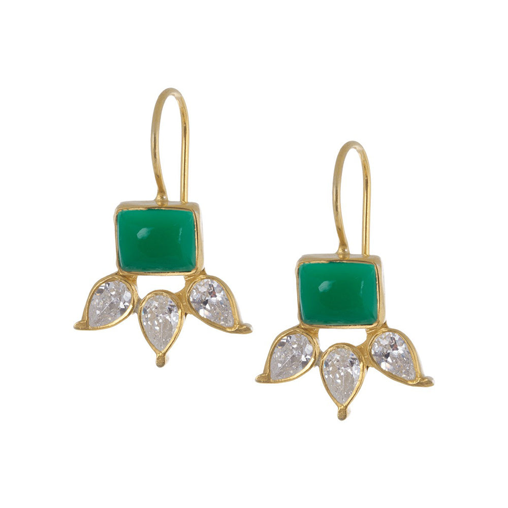 Green Onyx Silver Earring Gold Plated