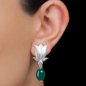 Lotus Silver Green Drop Earring