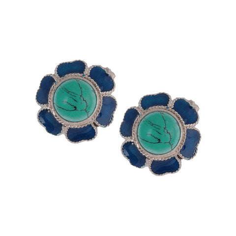 Floral Turquoise Silver Earring Enamelled