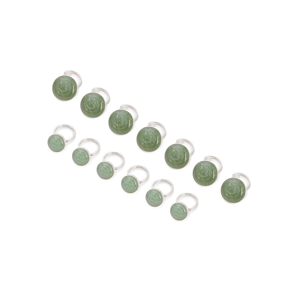 Green Aventurine Floral Silver Sherwani Buttons (Set of 13)