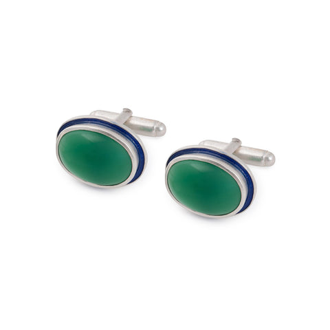 Green Onyx Silver Cufflinks with Enamel