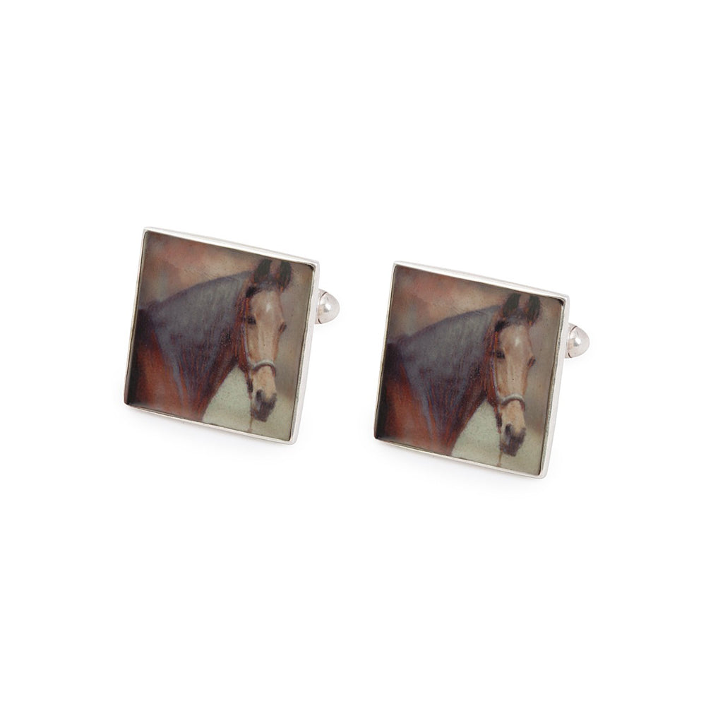 Painted Horse Silver Cufflinks