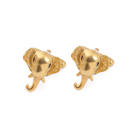 Elephant Silver Cufflinks Gold Plated