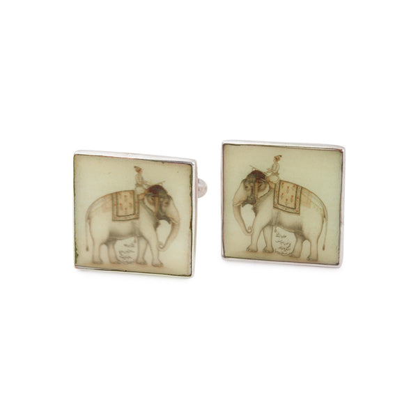 Painted Elephant Silver Cufflinks
