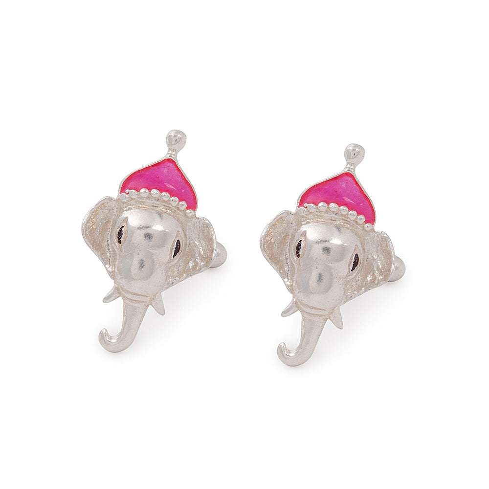 Elephant Silver Cufflinks with Enamel