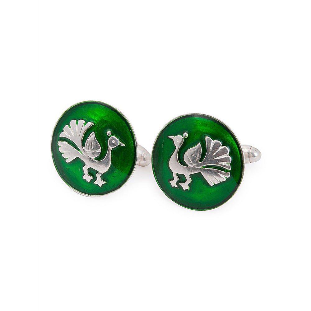 Peacock Silver Cufflinks with Enamel