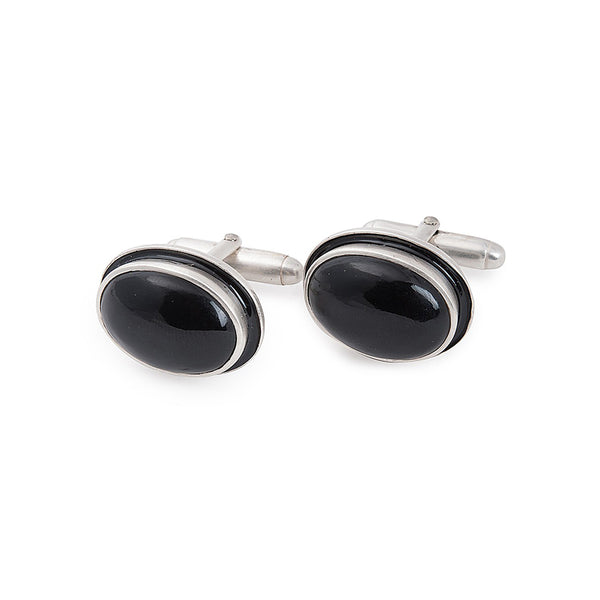 Black Onyx Silver Cufflinks with Enamel