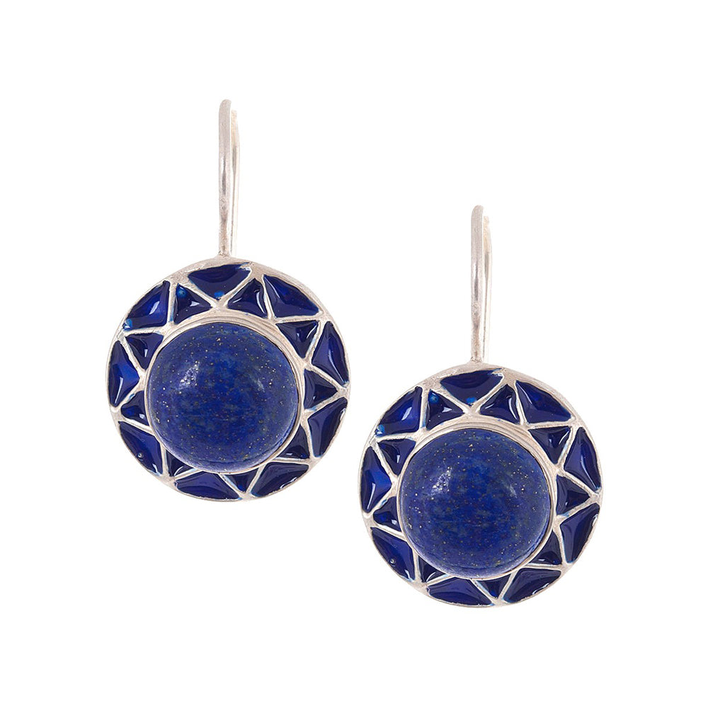 Lapis Lazuli Silver Enamelled Earrings