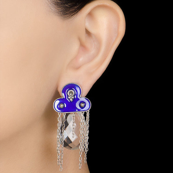 Silver Enamelled Earrings
