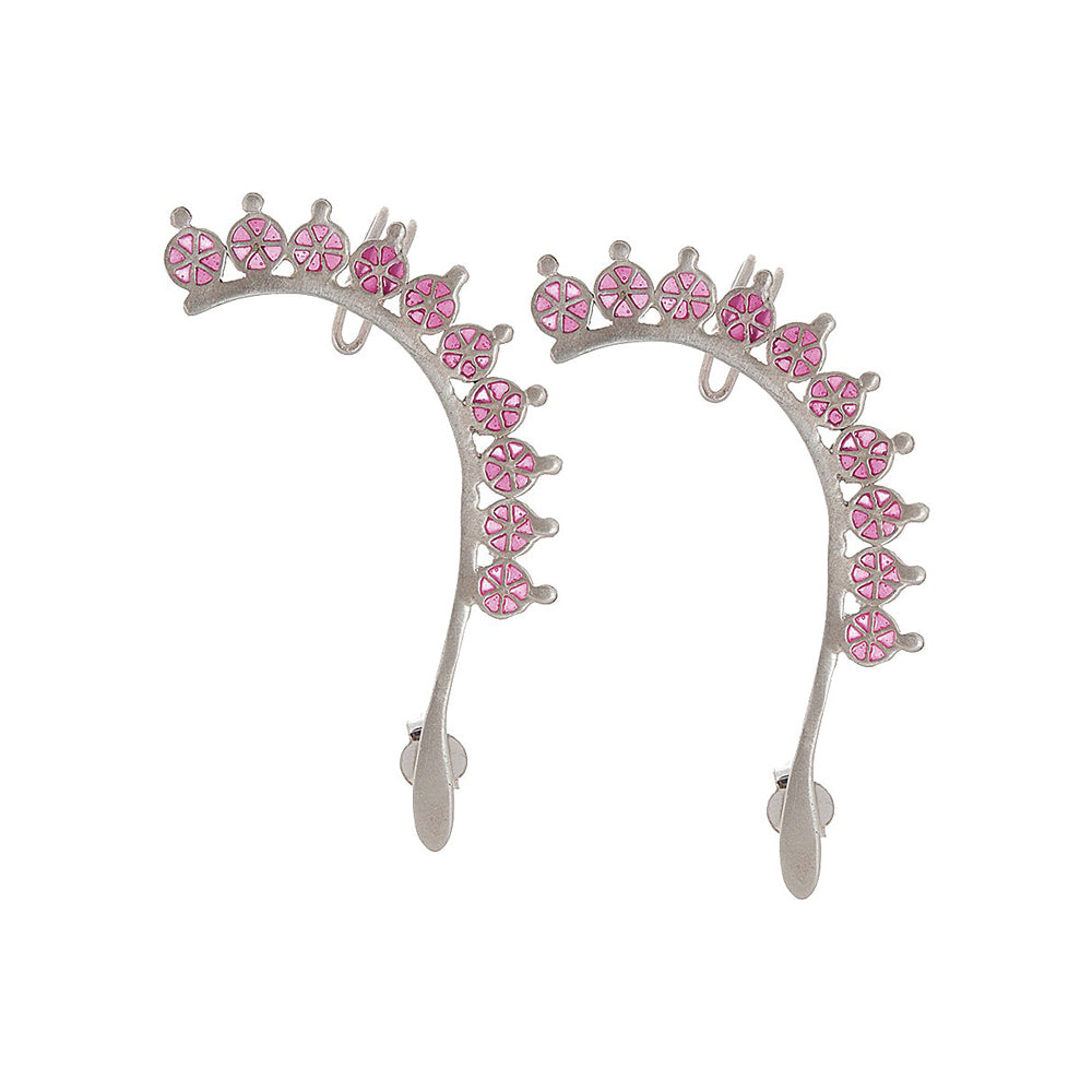 Silver Enamelled Ear Cuffs
