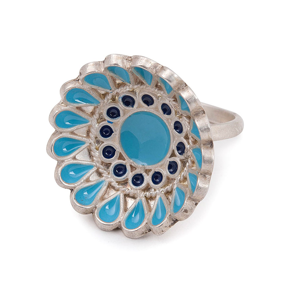Floral Enamelled Ring (Adjustable)