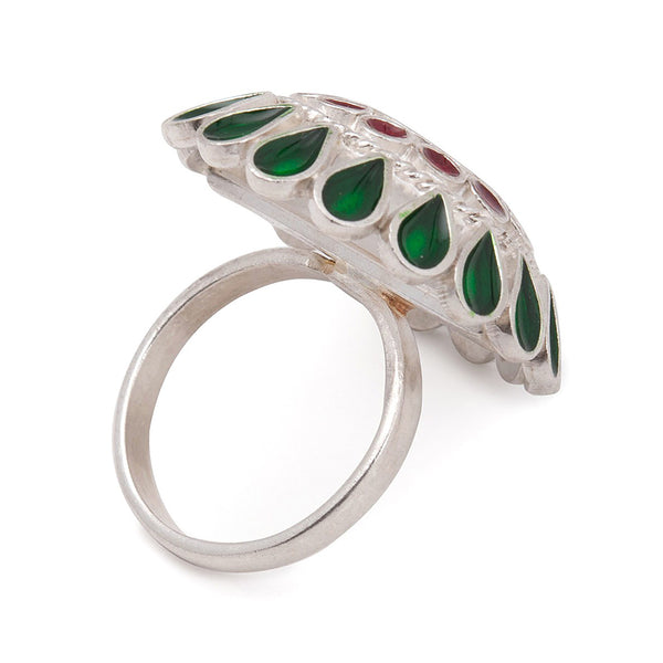 Floral Ring in Red - Green Enamel (Adjustable)