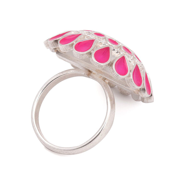 Floral Ring in Pink Enamel (Adjustable)