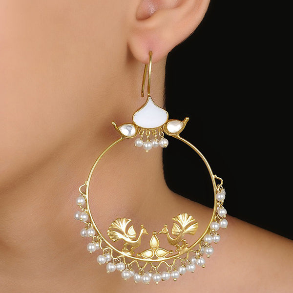 Peacock Silver Earring MOP Gold Plated