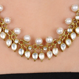Pearl Crystal Silver Necklace Gold Plated
