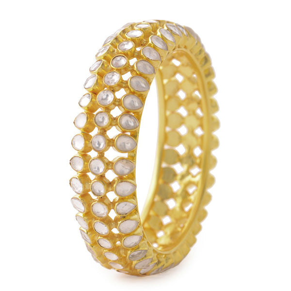 Crystal Silver Bangle (Size: 2/8) Gold Plated
