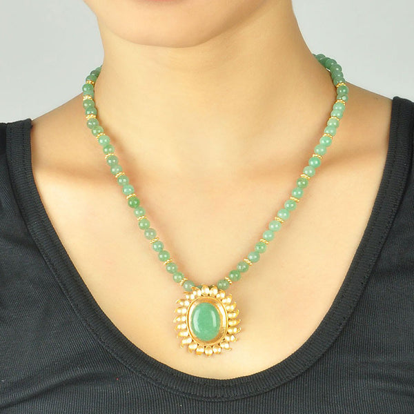 Green Aventurine Necklace Gold Plated