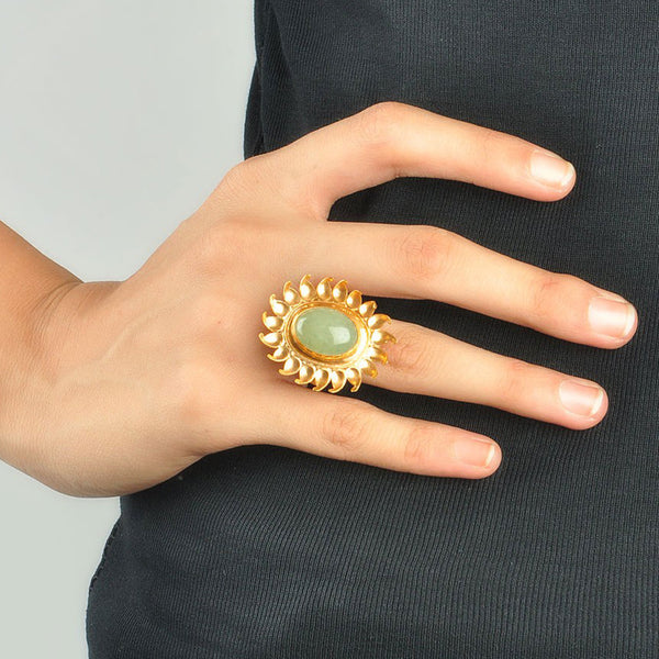 Floral Green Aventurine Silver Ring (Adjustable)