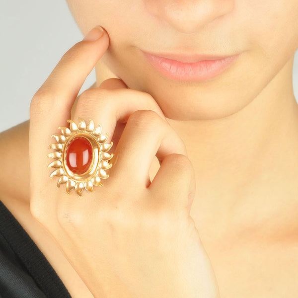 Floral Red Quartz Silver Ring (Adjustable)