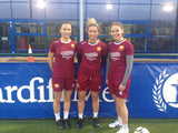 Women's Welsh Premier League champions Cardiff Met LFC sporting the Errea Ramos women's fit football shirt