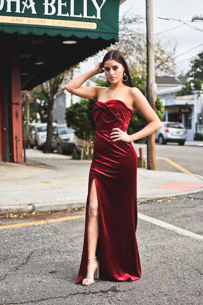Red Velvet Slit Dress