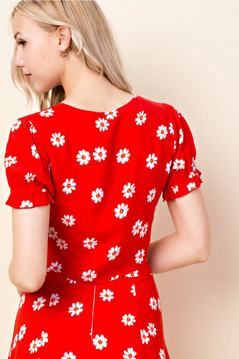 Red Floral Tie Top