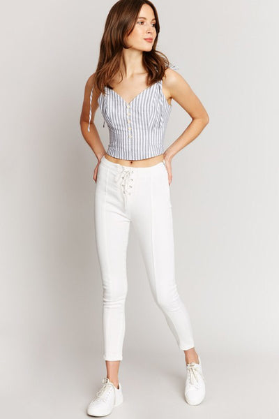 White Lace-Up Denim