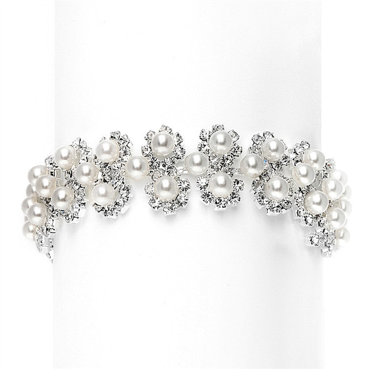 Crystal and Pearl Bridal Bracelet