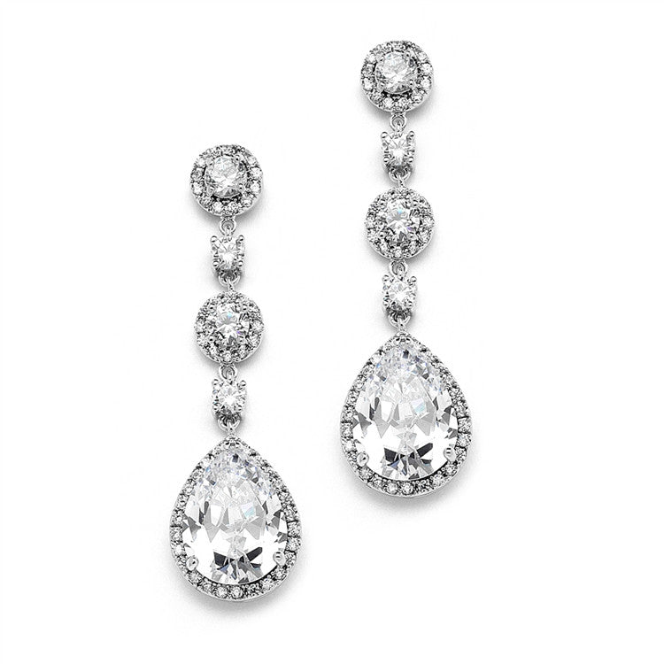 3 Tier Dream Pear Shaped Drop Earrings